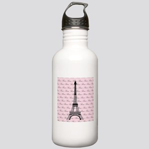 Pink and Black Paris Eiffel Tower Stainless Water