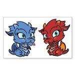 Blue and Red Dragons Sticker (Rectangle 50 pk)