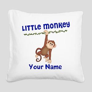 Monkey Boy Kids Personalized Square Canvas Pillow