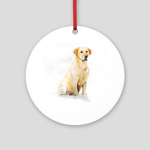 Labrador Retriever & Snowflakes Ornament (Round)