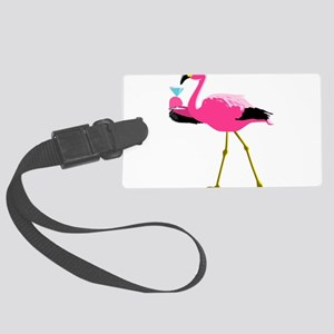 Pink Flamingo Drinking A Martini Large Luggage Tag