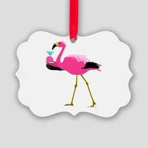 Pink Flamingo Drinking A Martini Picture Ornament