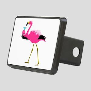 Pink Flamingo Drinking A Martini Rectangular Hitch