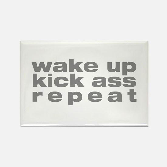 wake up kick ass repeat Rectangle Magnet