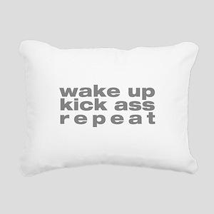 wake up kick ass repeat Rectangular Canvas Pillow