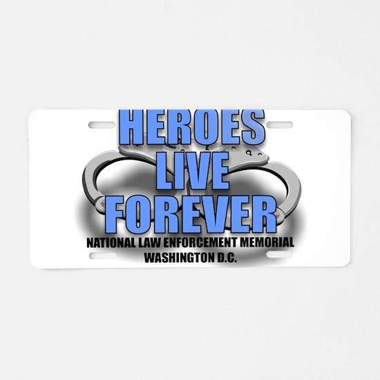 HEROES.jpg Aluminum License Plate