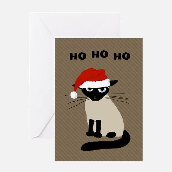 Siamese Santa Claws Greeting Card