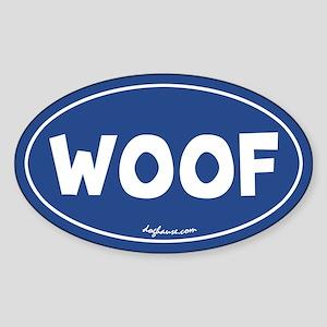 Woof (Blue) Oval Sticker