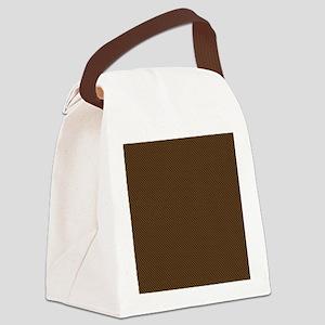 Brown Polka Dot Print Canvas Lunch Bag