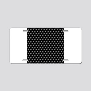 White Black Skull Crossbones Print Aluminum Licens