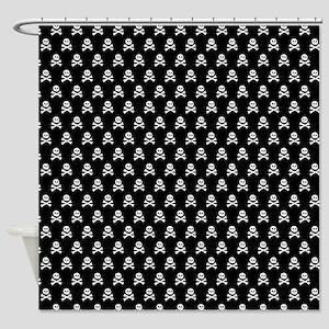 White Black Skull Crossbones Print Shower Curtain