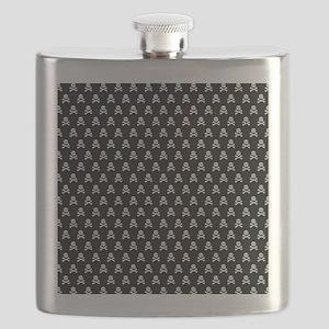 White Black Skull Crossbones Print Flask