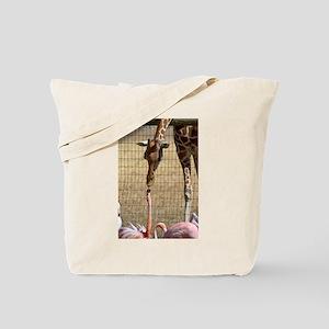 Giraffe and Flamingo Tote Bag