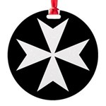White Maltese Cross Round Ornament