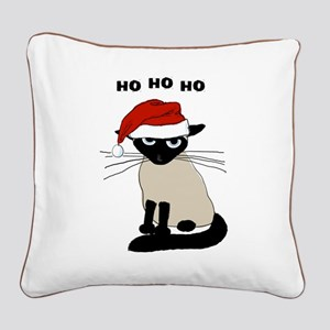 Siamese Santa Claws Square Canvas Pillow