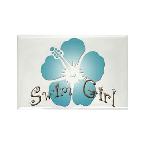 Swim Girl - Blue Rectangle Magnet
