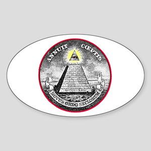 """Weird Dollar """"Illuminati"""" Oval Sticker"""