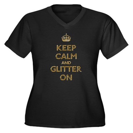 Keep Calm And Glitter On Women's Plus Size V-Neck
