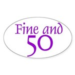 50 50th Birthday Men Women Oval Sticker