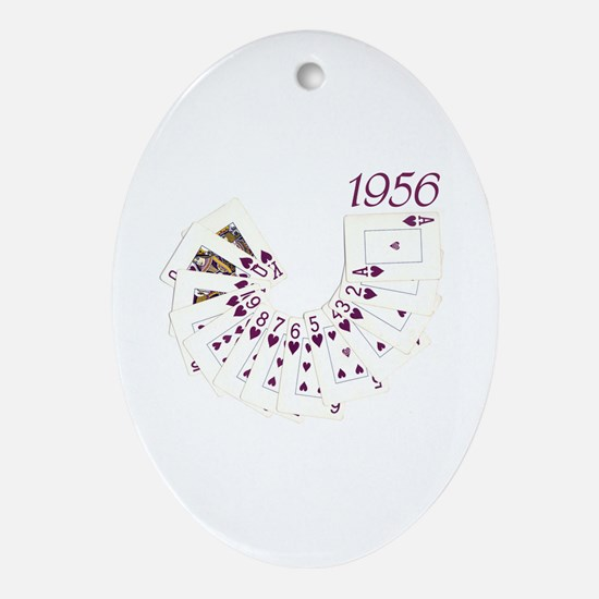 50th Birthday Playing Cards Oval Ornament