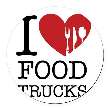 I Love Food Trucks Round Car Magnet