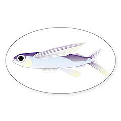 Flying Fish Sticker (Oval)