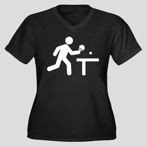 Ping Pong Women's Plus Size V-Neck Dark T-Shirt