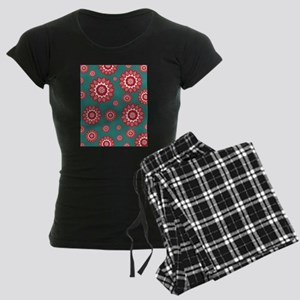 Red and Teal Geometric Floral Women's Dark Pajamas