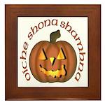 Gaelic Carved Pumpkin Framed Tile