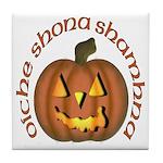 Gaelic Carved Pumpkin Tile Coaster