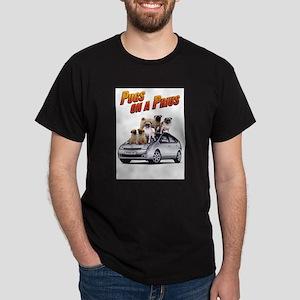Pugs on a Prius Black T-Shirt