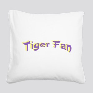 Tiger Fan Purple on Gold Square Canvas Pillow