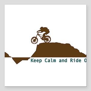 """Mountain Bike - Keep Calm Square Car Magnet 3"""" x 3"""