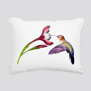 Hummingbird in flight Rectangular Canvas Pillow