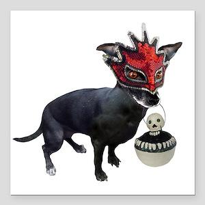 "Dog in Mask Square Car Magnet 3"" x 3"""