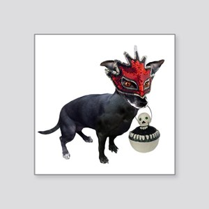 "Dog in Mask Square Sticker 3"" x 3"""