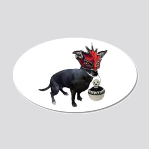 Dog in Mask 20x12 Oval Wall Decal