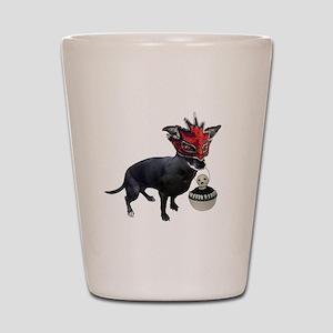 Dog in Mask Shot Glass
