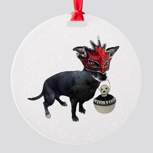 Dog in Mask Round Ornament