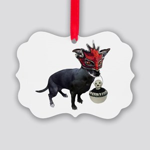 Dog in Mask Picture Ornament