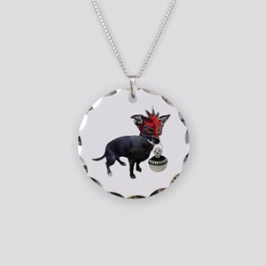 Dog in Mask Necklace Circle Charm