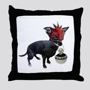 Dog in Mask Throw Pillow