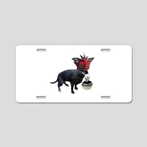 Dog in Mask Aluminum License Plate