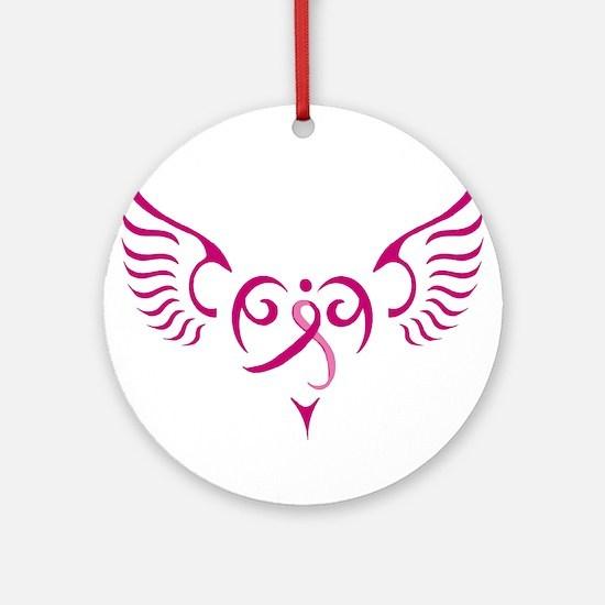 Breast Cancer Awareness Angel Heart Ornament (Roun