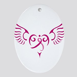 Breast Cancer Awareness Angel Heart Ornament (Oval