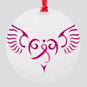 Breast Cancer Awareness Angel Heart Round Ornament