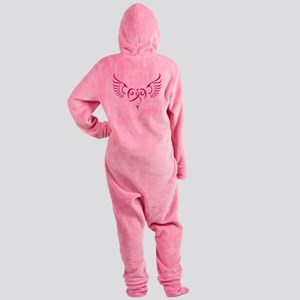 Breast Cancer Awareness Angel Heart Footed Pajamas
