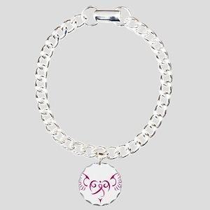 Breast Cancer Awareness Angel Heart Charm Bracelet