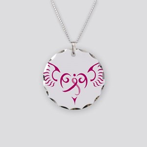 Breast Cancer Awareness Angel Heart Necklace Circl