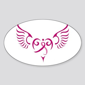 Breast Cancer Awareness Angel Heart Sticker (Oval)